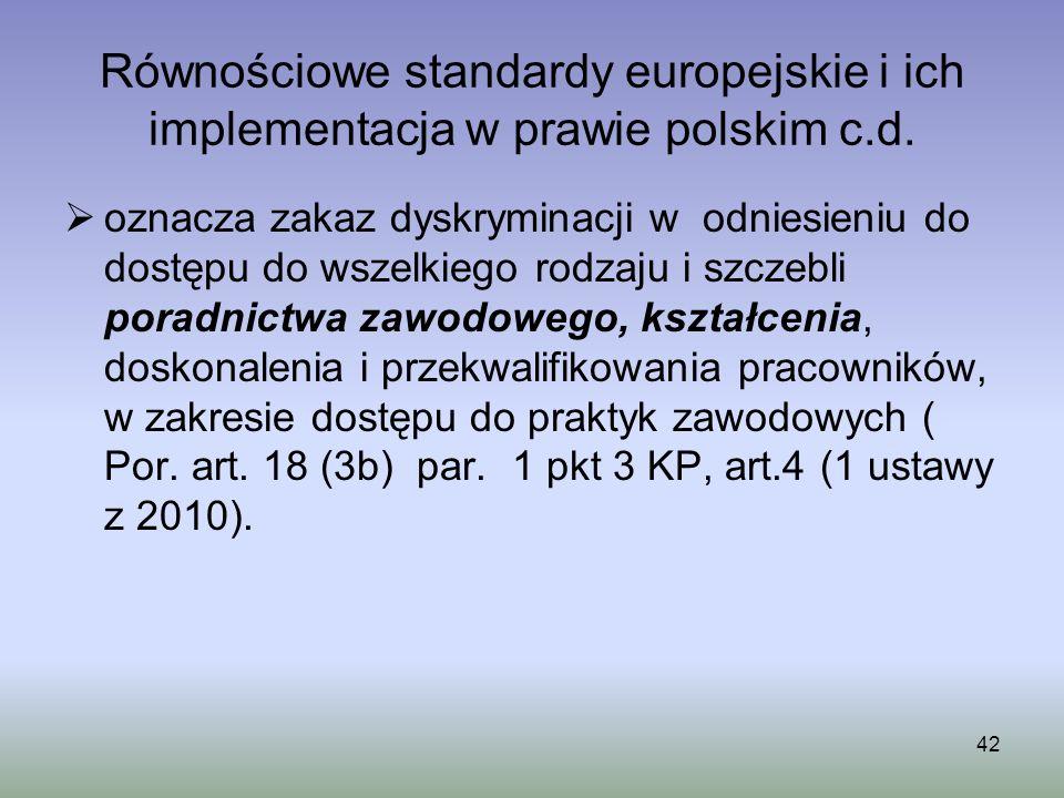 42 Równościowe standardy europejskie i ich implementacja w prawie polskim c.d. oznacza zakaz dyskryminacji w odniesieniu do dostępu do wszelkiego rodz
