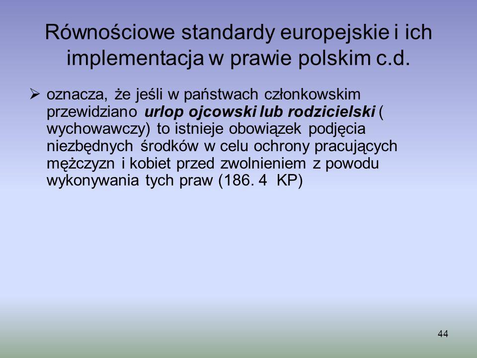 44 Równościowe standardy europejskie i ich implementacja w prawie polskim c.d. oznacza, że jeśli w państwach członkowskim przewidziano urlop ojcowski