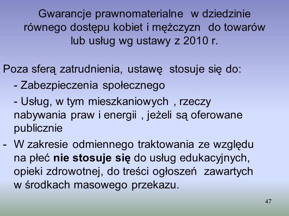 Gwarancje prawnomaterialne w dziedzinie równego dostępu kobiet i mężczyzn do towarów lub usług wg ustawy z 2010 r. Poza sferą zatrudnienia, ustawę sto