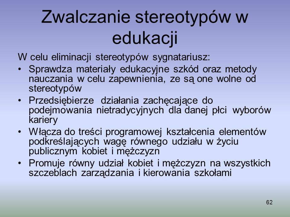 Zwalczanie stereotypów w edukacji 62 W celu eliminacji stereotypów sygnatariusz: Sprawdza materiały edukacyjne szkód oraz metody nauczania w celu zape