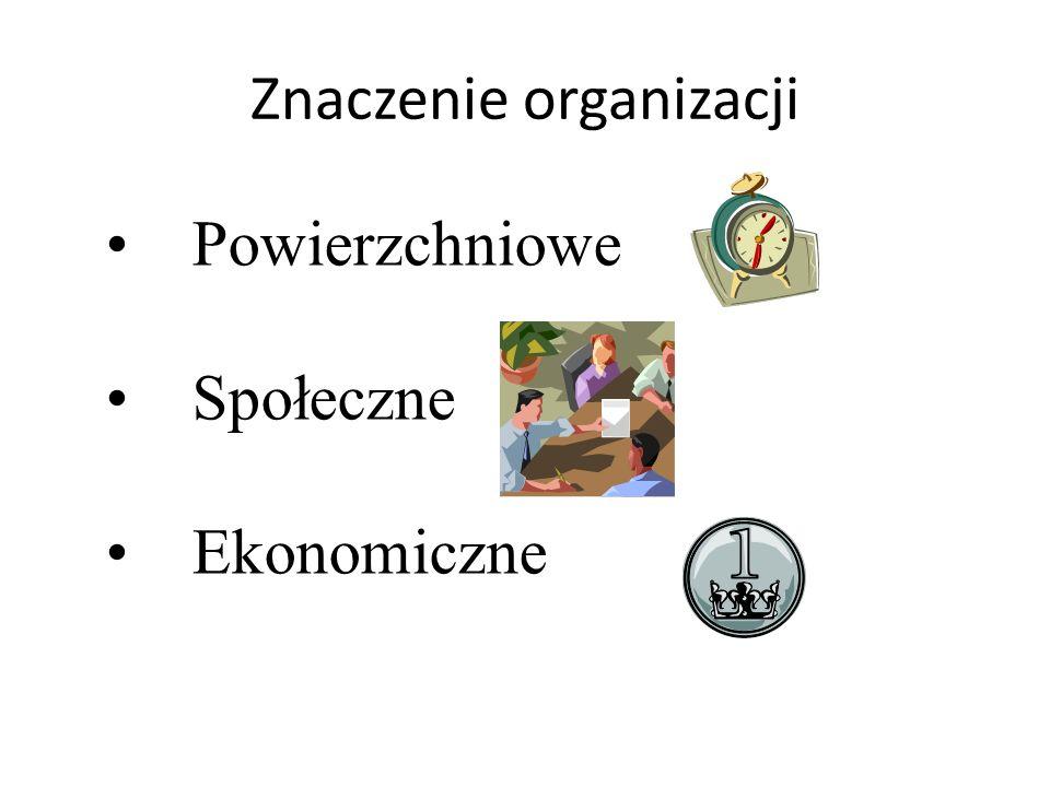 Powierzchniowe Społeczne Ekonomiczne Znaczenie organizacji