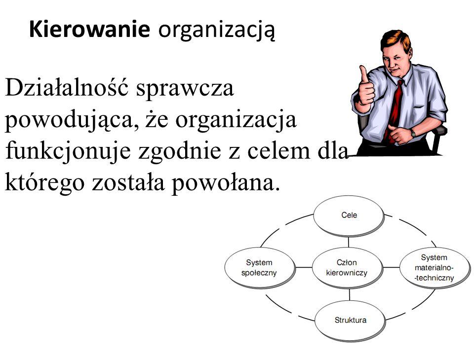 Działalność sprawcza powodująca, że organizacja funkcjonuje zgodnie z celem dla którego została powołana.