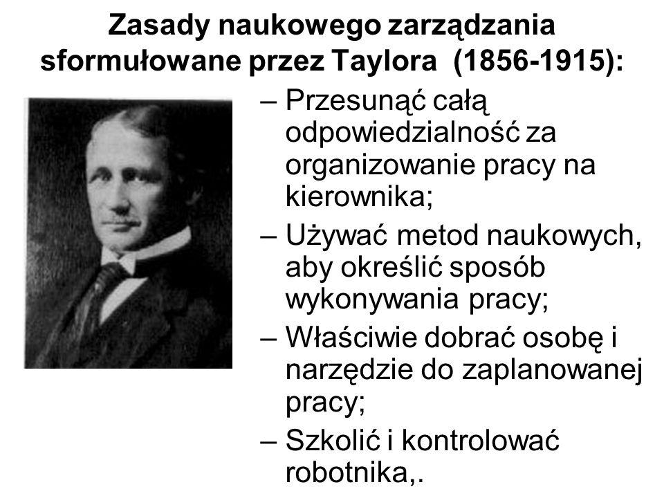 Zasady naukowego zarządzania sformułowane przez Taylora (1856-1915): –Przesunąć całą odpowiedzialność za organizowanie pracy na kierownika; –Używać me