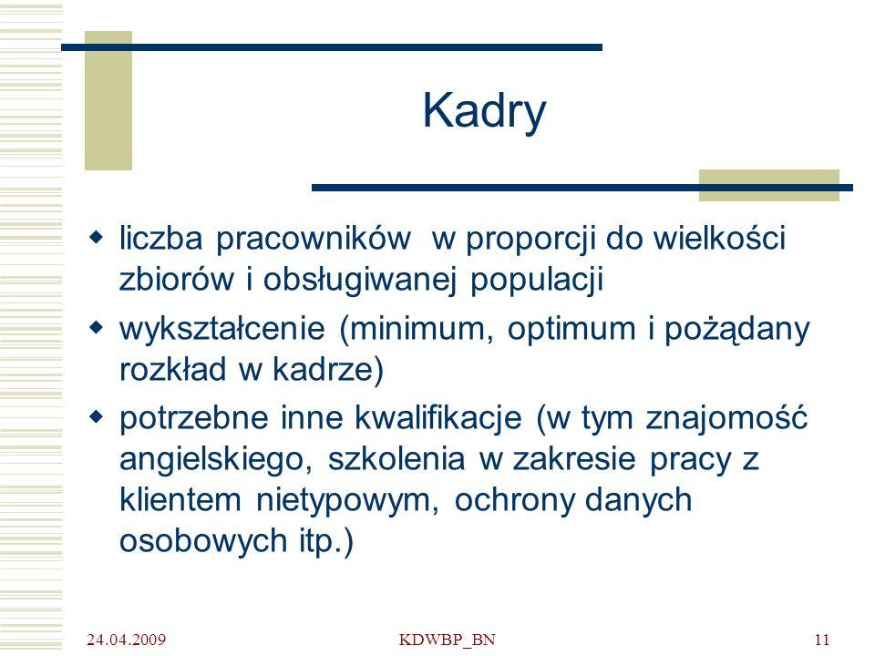 24.04.2009 KDWBP_BN11 Kadry liczba pracowników w proporcji do wielkości zbiorów i obsługiwanej populacji wykształcenie (minimum, optimum i pożądany ro