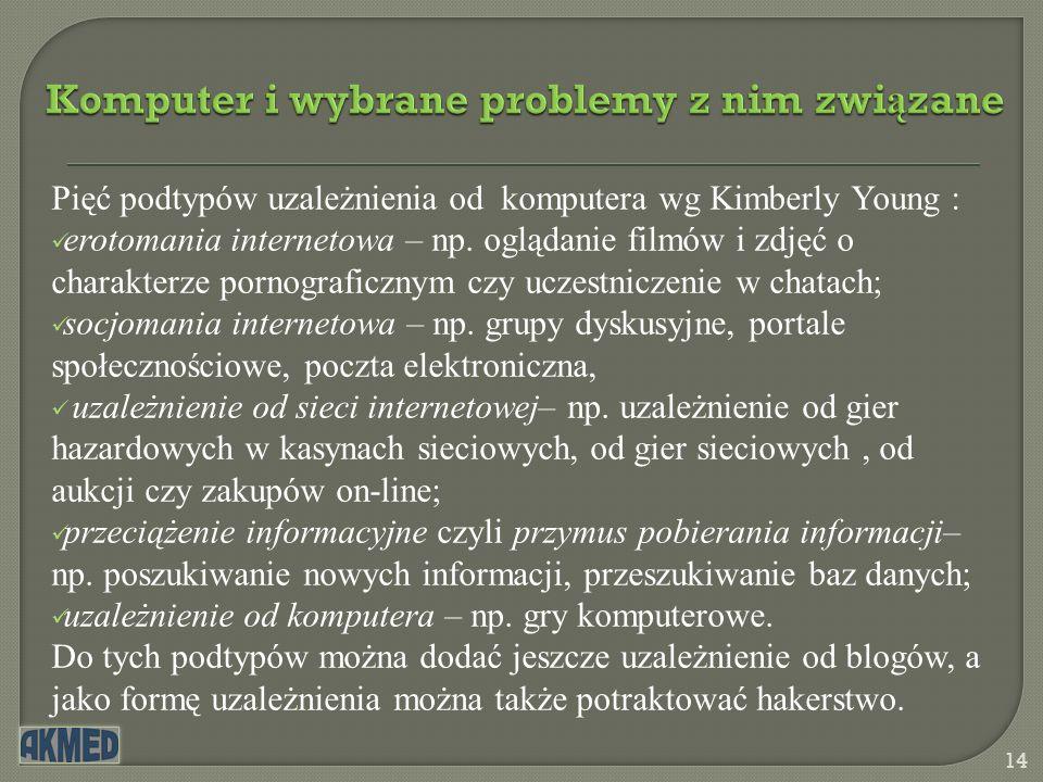 Komputer i wybrane problemy z nim zwi ą zane 14 Pięć podtypów uzależnienia od komputera wg Kimberly Young : erotomania internetowa – np. oglądanie fil