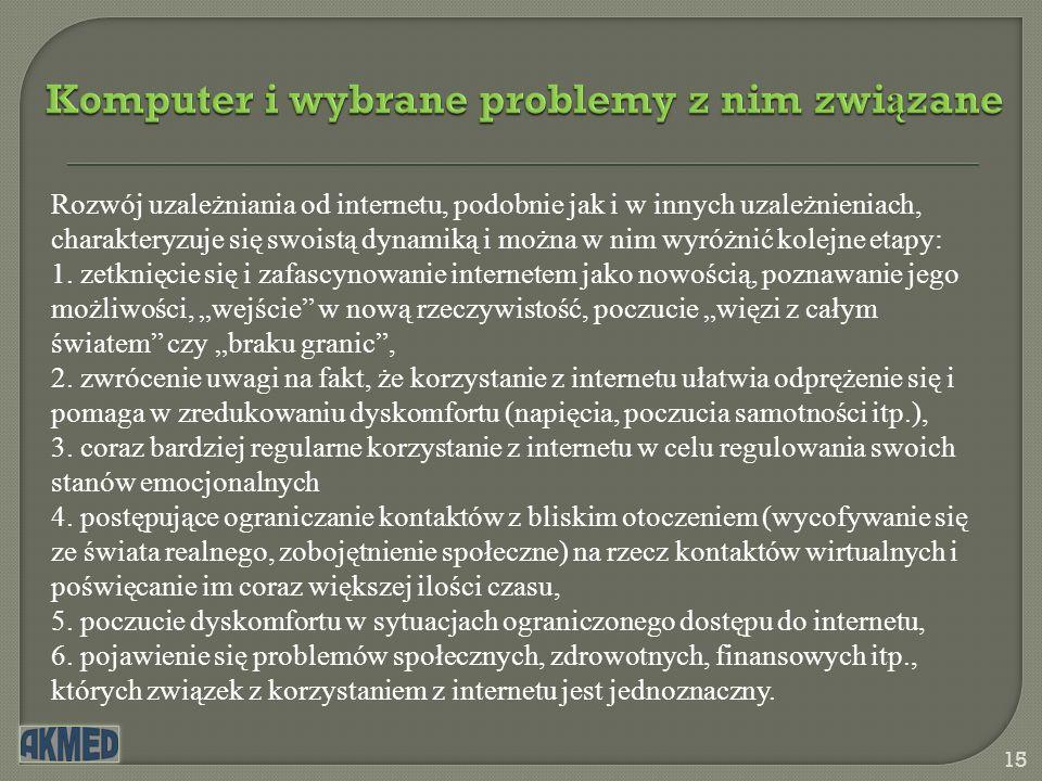 Komputer i wybrane problemy z nim zwi ą zane 15 Rozwój uzależniania od internetu, podobnie jak i w innych uzależnieniach, charakteryzuje się swoistą d