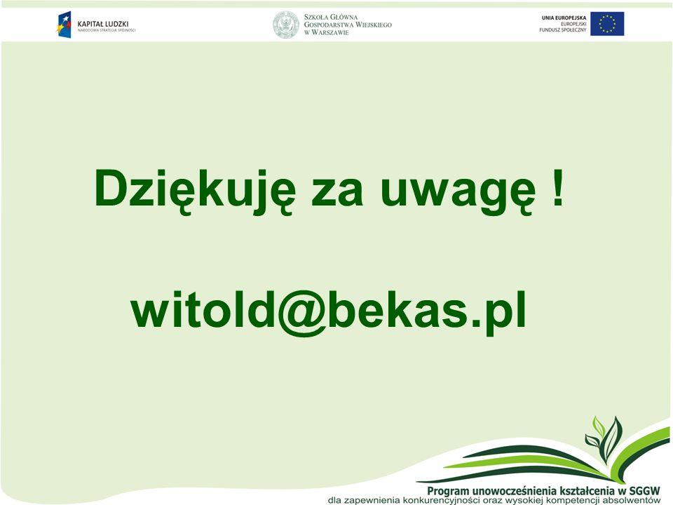 Dziękuję za uwagę ! witold@bekas.pl
