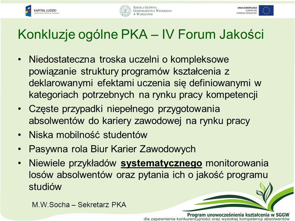 Konkluzje ogólne PKA – IV Forum Jakości Niedostateczna troska uczelni o kompleksowe powiązanie struktury programów kształcenia z deklarowanymi efektam