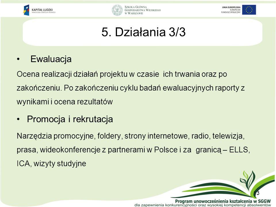 5. Działania 3/3 Ewaluacja Ocena realizacji działań projektu w czasie ich trwania oraz po zakończeniu. Po zakończeniu cyklu badań ewaluacyjnych raport