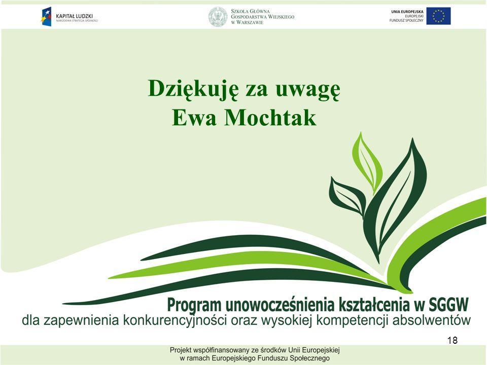 Dziękuję za uwagę Ewa Mochtak 18
