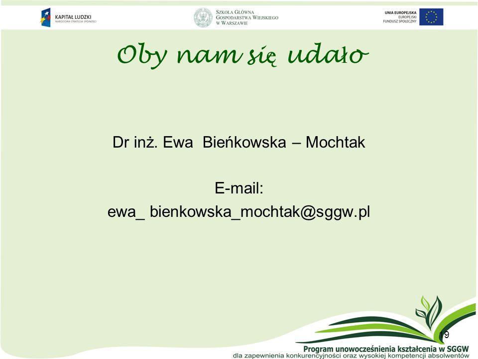 Oby nam si ę uda ł o Dr inż. Ewa Bieńkowska – Mochtak E-mail: ewa_ bienkowska_mochtak@sggw.pl 19