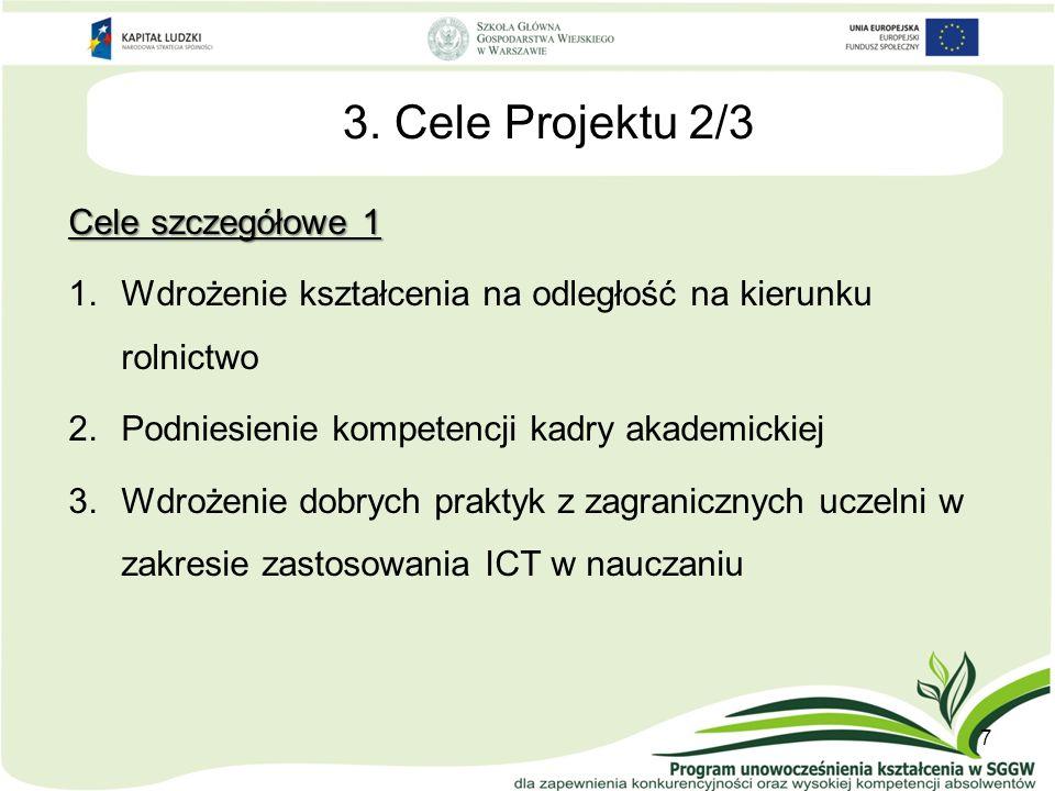3. Cele Projektu 2/3 Cele szczegółowe 1 1.Wdrożenie kształcenia na odległość na kierunku rolnictwo 2.Podniesienie kompetencji kadry akademickiej 3.Wdr