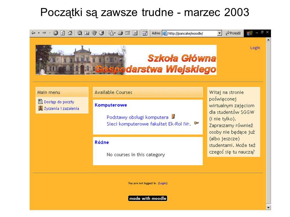 Początki są zawsze trudne - marzec 2003