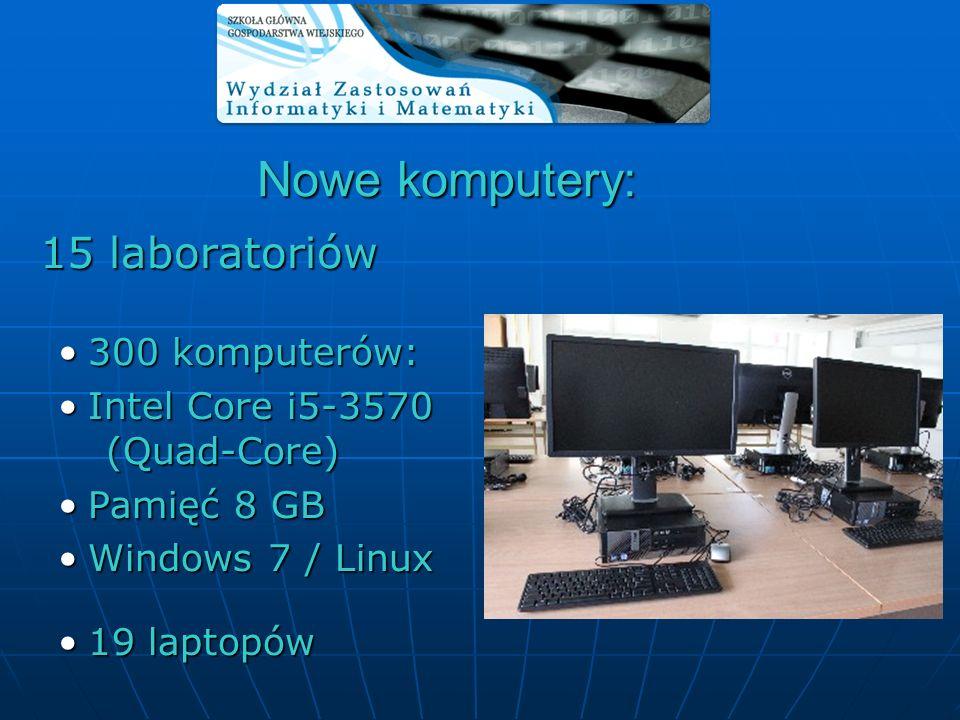 15 laboratoriów 15 laboratoriów 300 komputerów:300 komputerów: Intel Core i5-3570 (Quad-Core)Intel Core i5-3570 (Quad-Core) Pamięć 8 GBPamięć 8 GB Win