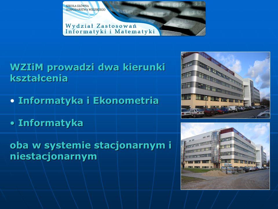 Studia na kierunku Informatyka i Ekonometria są dwustopniowe: studia I stopnia licencjackie (3 – letnie), studia II stopnia magisterskie (2 – letnie).