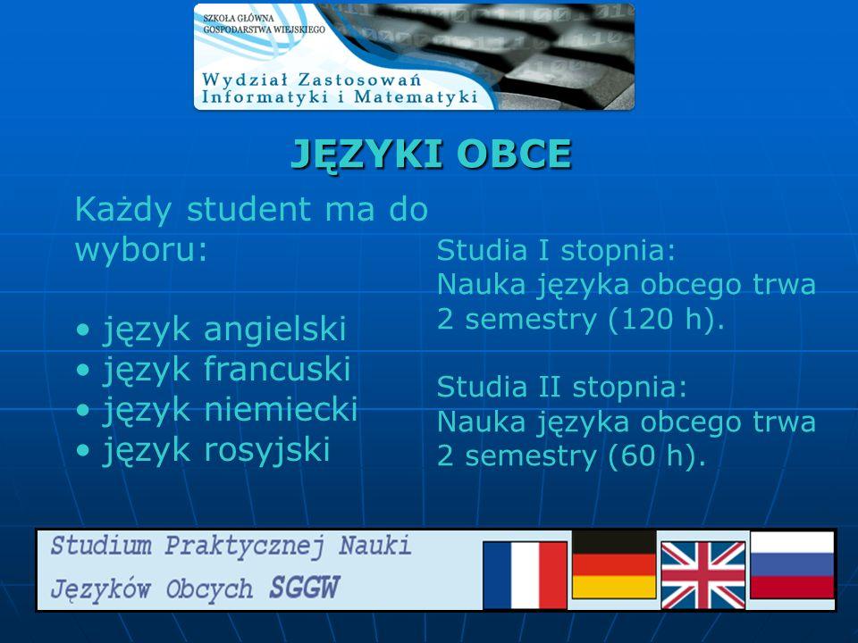 JĘZYKI OBCE Każdy student ma do wyboru: język angielski język francuski język niemiecki język rosyjski Studia I stopnia: Nauka języka obcego trwa 2 se
