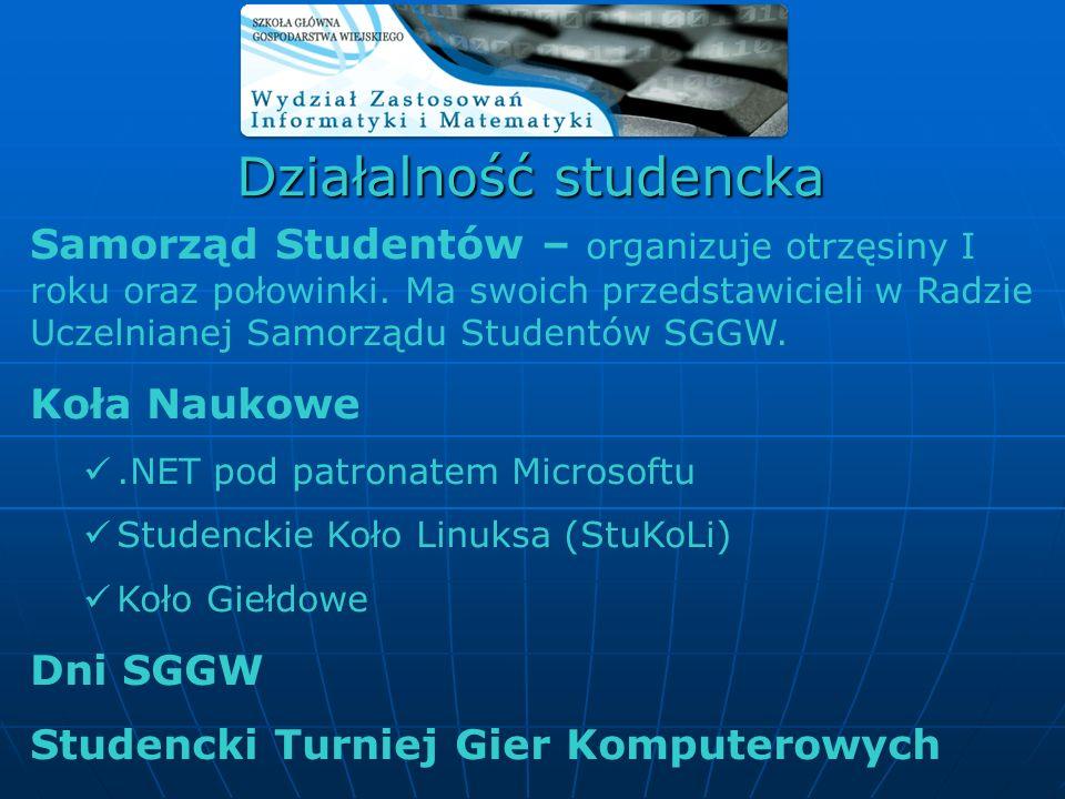 Samorząd Studentów – organizuje otrzęsiny I roku oraz połowinki. Ma swoich przedstawicieli w Radzie Uczelnianej Samorządu Studentów SGGW. Koła Naukowe