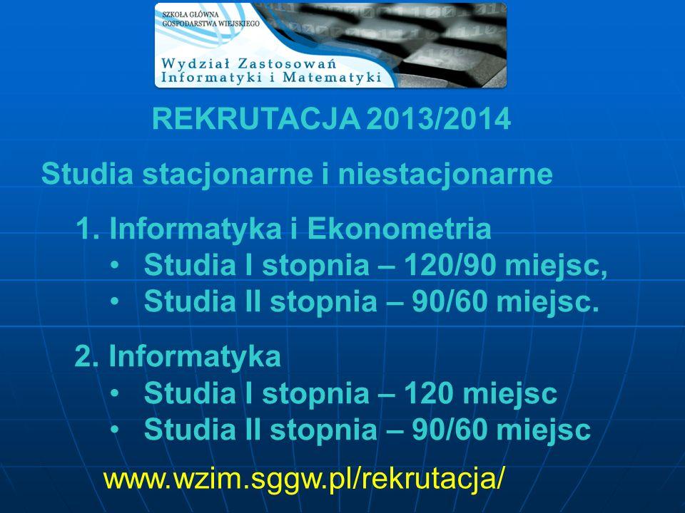 REKRUTACJA 2013/2014 Studia stacjonarne i niestacjonarne 1.Informatyka i Ekonometria Studia I stopnia – 120/90 miejsc, Studia II stopnia – 90/60 miejs