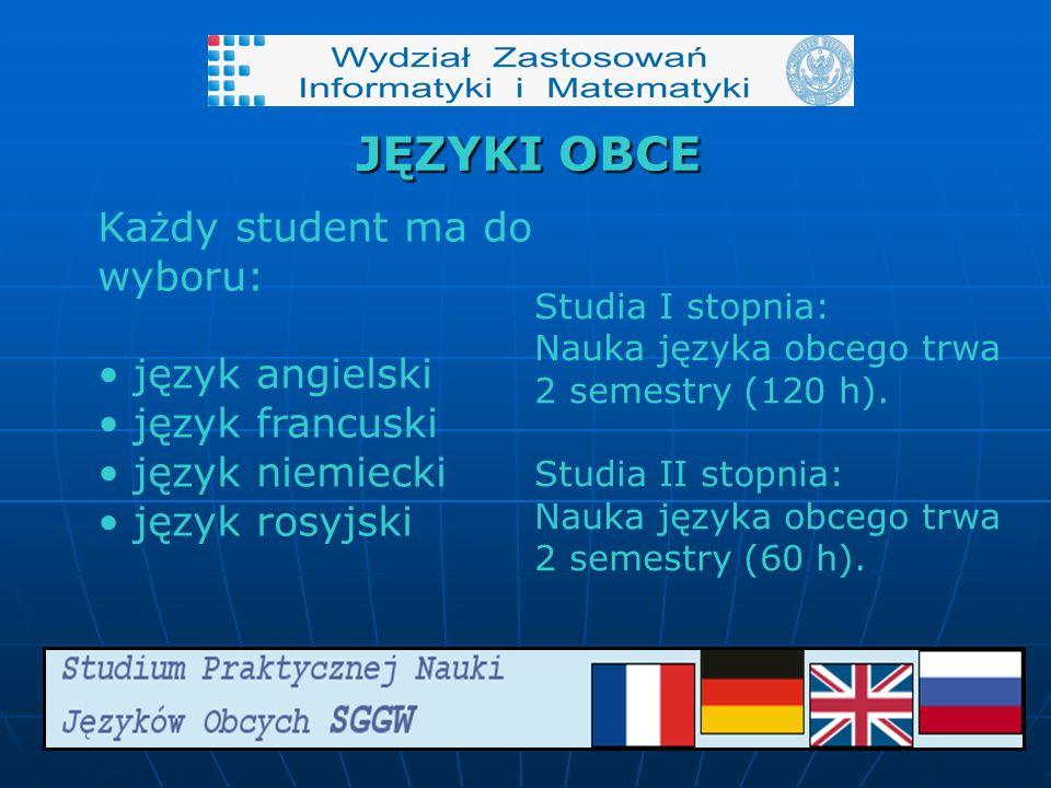 JĘZYKI OBCE Każdy student ma do wyboru: język angielski język francuski język niemiecki język rosyjski Studia I stopnia: Nauka języka obcego trwa 2 semestry (120 h).
