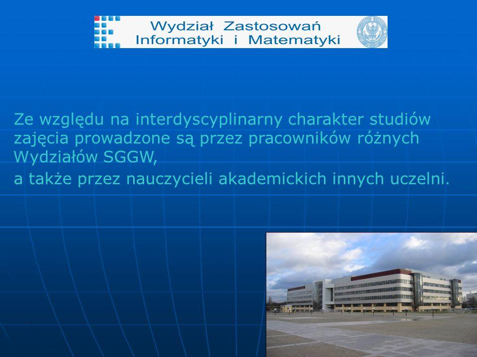 Ze względu na interdyscyplinarny charakter studiów zajęcia prowadzone są przez pracowników różnych W ydziałów SGGW, a także przez nauczycieli akademickich innych uczelni.