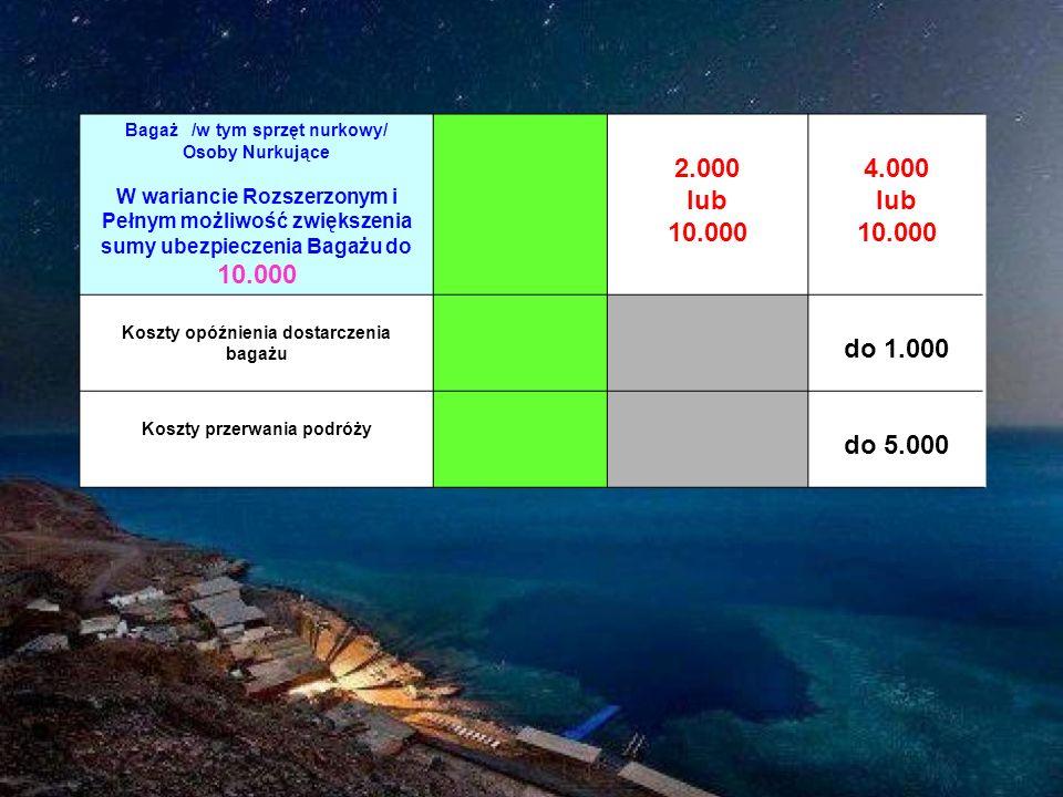 Bagaż /w tym sprzęt nurkowy/ Osoby Nurkujące W wariancie Rozszerzonym i Pełnym możliwość zwiększenia sumy ubezpieczenia Bagażu do 10.000 2.000 lub 10.000 4.000 lub 10.000 Koszty opóźnienia dostarczenia bagażu do 1.000 Koszty przerwania podróży do 5.000