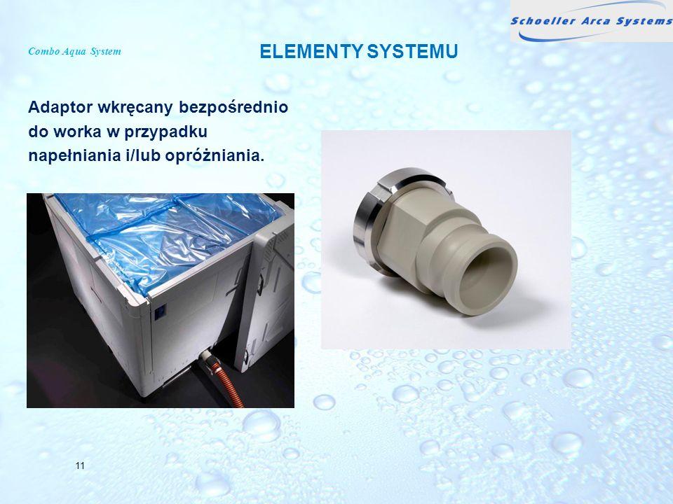 Combo Aqua System Adaptor wkręcany bezpośrednio do worka w przypadku napełniania i/lub opróżniania. 11 ELEMENTY SYSTEMU