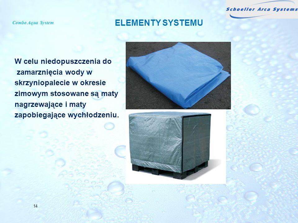 Combo Aqua System W celu niedopuszczenia do zamarznięcia wody w skrzyniopalecie w okresie zimowym stosowane są maty nagrzewające i maty zapobiegające
