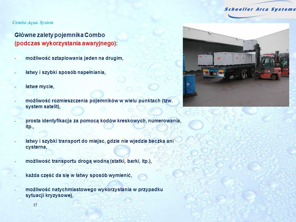 Combo Aqua System Główne zalety pojemnika Combo (podczas wykorzystania awaryjnego): -możliwość sztaplowania jeden na drugim, -łatwy i szybki sposób na