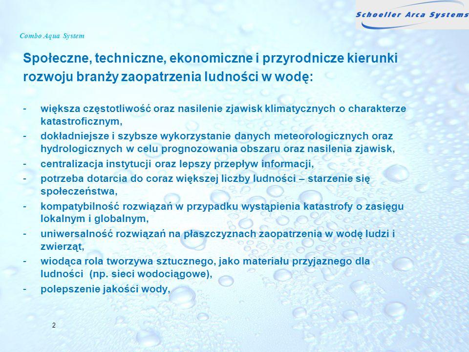 Combo Aqua System Społeczne, techniczne, ekonomiczne i przyrodnicze kierunki rozwoju branży zaopatrzenia ludności w wodę: -większa częstotliwość oraz