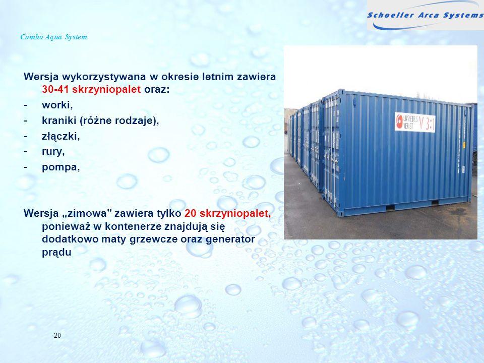 Combo Aqua System Wersja wykorzystywana w okresie letnim zawiera 30-41 skrzyniopalet oraz: -worki, -kraniki (różne rodzaje), -złączki, -rury, -pompa,