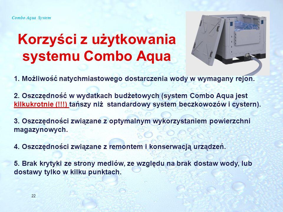 Combo Aqua System Korzyści z użytkowania systemu Combo Aqua 22 1. Możliwość natychmiastowego dostarczenia wody w wymagany rejon. 2. Oszczędność w wyda