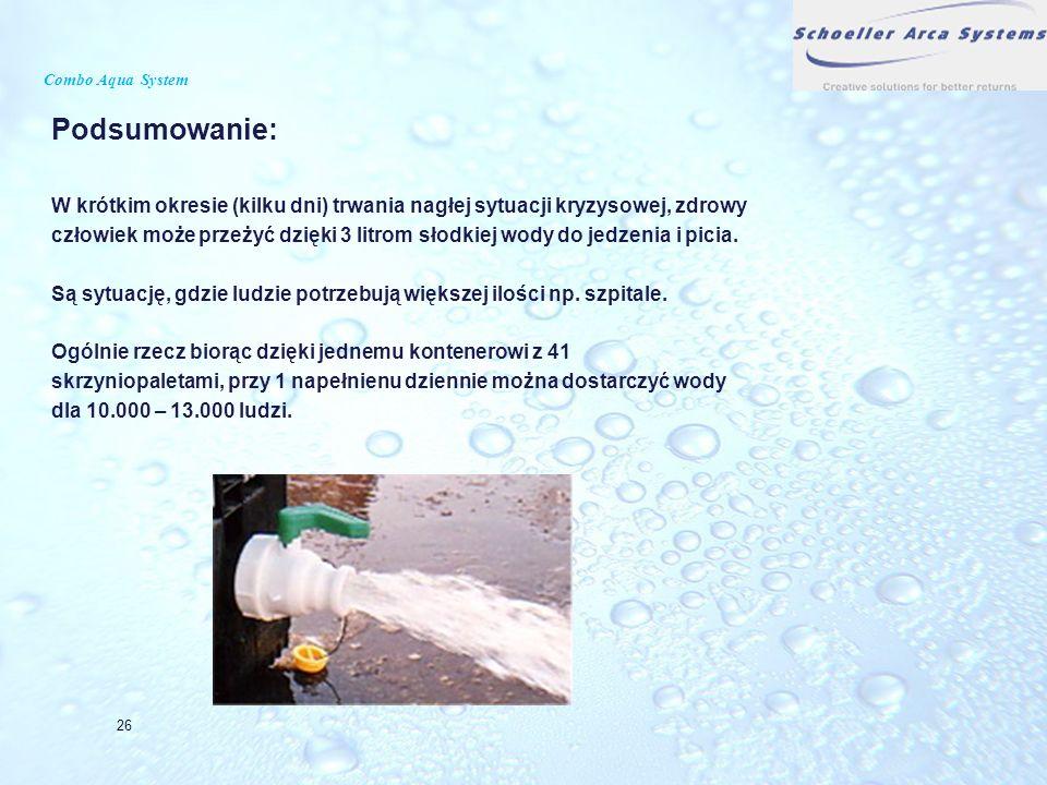 Combo Aqua System Podsumowanie: W krótkim okresie (kilku dni) trwania nagłej sytuacji kryzysowej, zdrowy człowiek może przeżyć dzięki 3 litrom słodkie