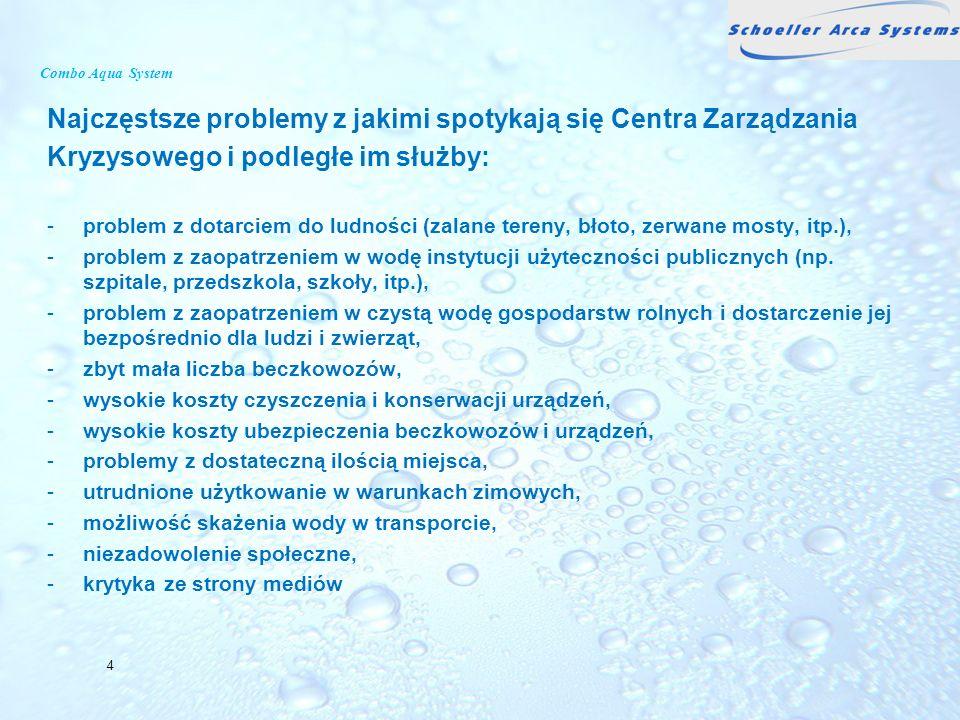 Combo Aqua System Najczęstsze problemy z jakimi spotykają się Centra Zarządzania Kryzysowego i podległe im służby: -problem z dotarciem do ludności (z