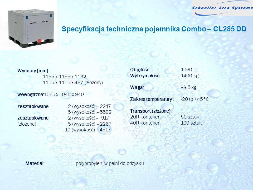 Specyfikacja techniczna pojemnika Combo – CL285 DD Wymiary [mm] : 1155 x 1155 x 1132 1155 x 1155 x 467 (złożony) wewnętrzne:1065 x 1045 x 940 zesztapl