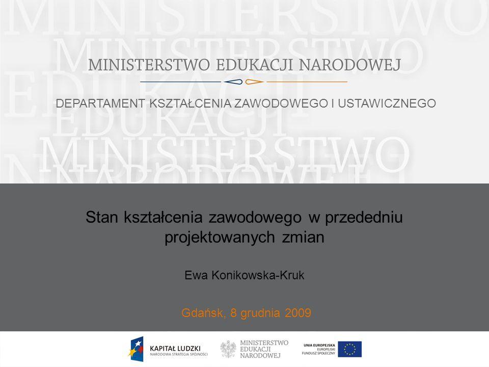 Stan kształcenia zawodowego w przededniu projektowanych zmian Gdańsk, 8 grudnia 2009 Ewa Konikowska-Kruk DEPARTAMENT KSZTAŁCENIA ZAWODOWEGO I USTAWICZ