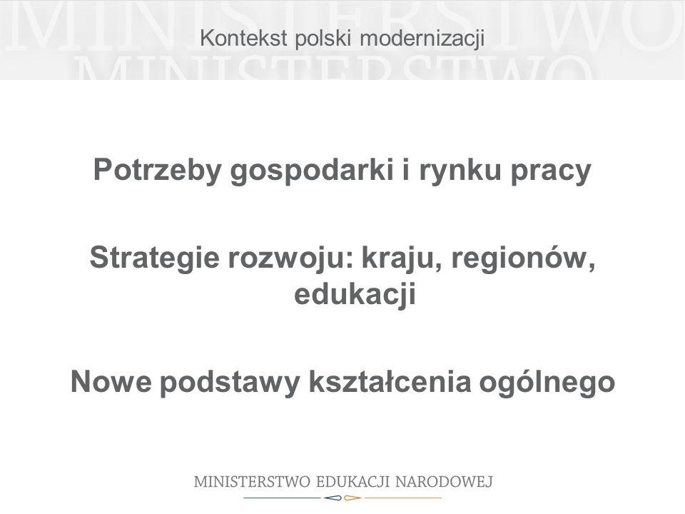 Kontekst polski modernizacji Potrzeby gospodarki i rynku pracy Strategie rozwoju: kraju, regionów, edukacji Nowe podstawy kształcenia ogólnego