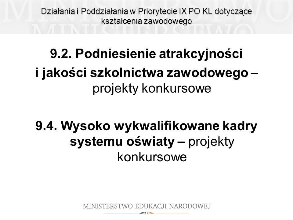 Działania i Poddziałania w Priorytecie IX PO KL dotyczące kształcenia zawodowego 9.2. Podniesienie atrakcyjności i jakości szkolnictwa zawodowego – pr