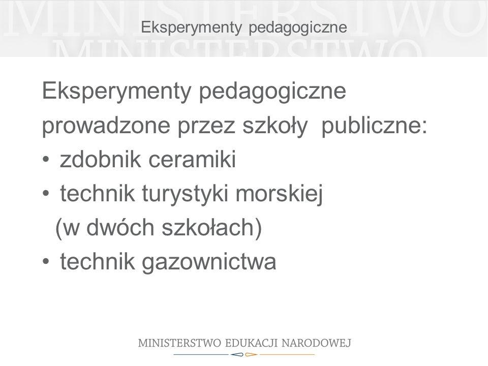 Eksperymenty pedagogiczne prowadzone przez szkoły publiczne: zdobnik ceramiki technik turystyki morskiej (w dwóch szkołach) technik gazownictwa