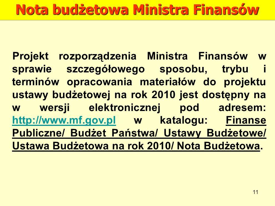 11 Nota budżetowa Ministra Finansów Projekt rozporządzenia Ministra Finansów w sprawie szczegółowego sposobu, trybu i terminów opracowania materiałów