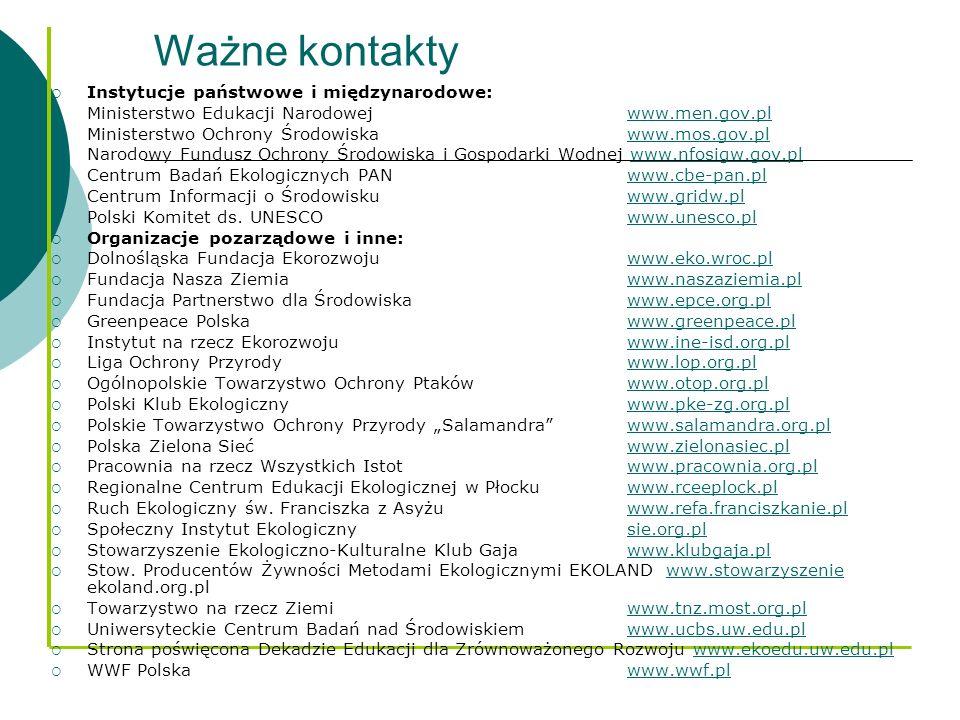 Ważne kontakty Instytucje państwowe i międzynarodowe: Ministerstwo Edukacji Narodowej www.men.gov.plwww.men.gov.pl Ministerstwo Ochrony Środowiskawww.