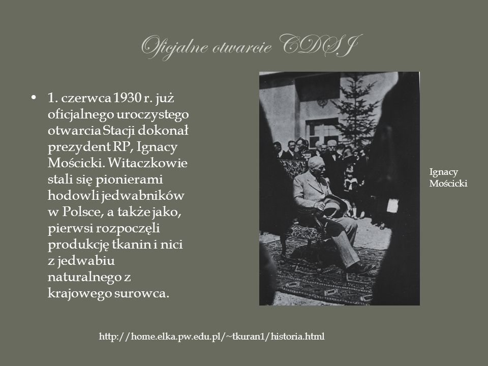 Oficjalne otwarcie CDSJ 1. czerwca 1930 r. już oficjalnego uroczystego otwarcia Stacji dokonał prezydent RP, Ignacy Mościcki. Witaczkowie stali się pi