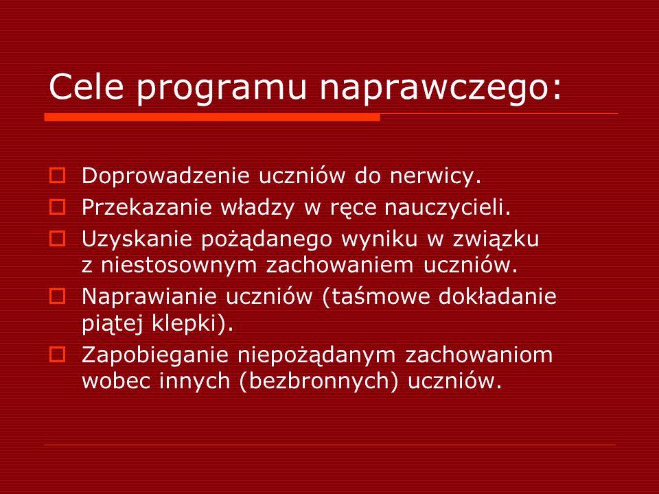 Cele programu naprawczego: Doprowadzenie uczniów do nerwicy.