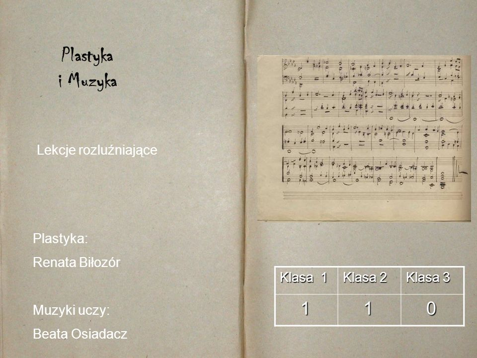 Klasa 1 Klasa 2 Klasa 3 1 1 0 Plastyka i Muzyka Plastyka: Renata Biłozór Muzyki uczy: Beata Osiadacz Lekcje rozluźniające