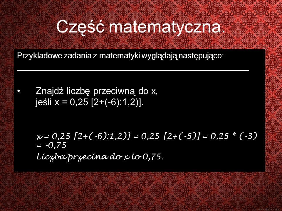 Część matematyczna.