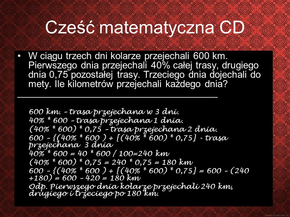 Część matematyczna CD.