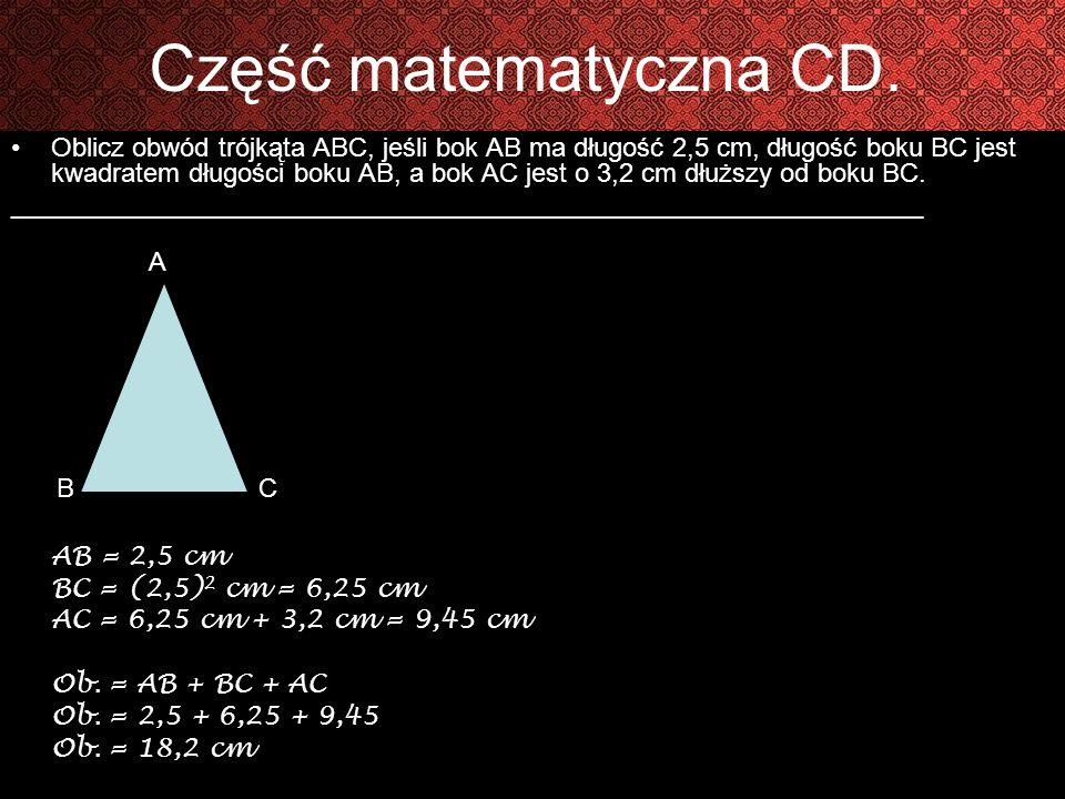 Część matematyczna CD.Dopisz cztery następne liczby.