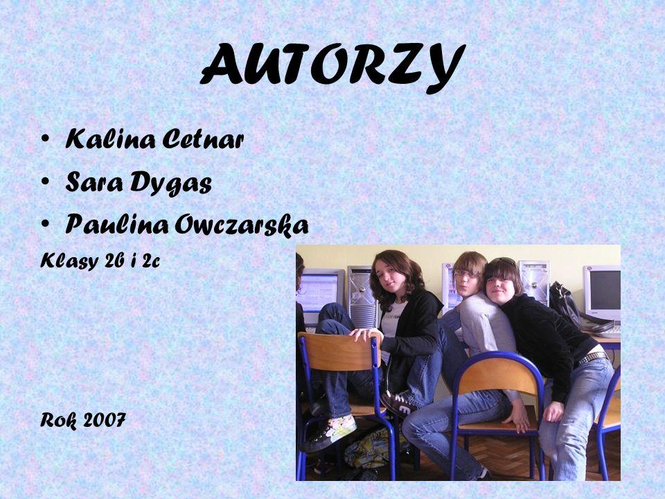 AUTORZY Kalina Cetnar Sara Dygas Paulina Owczarska Klasy 2b i 2c Rok 2007