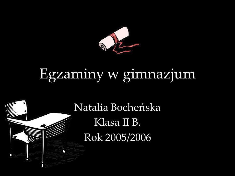 Egzaminy w gimnazjum Natalia Bocheńska Klasa II B. Rok 2005/2006