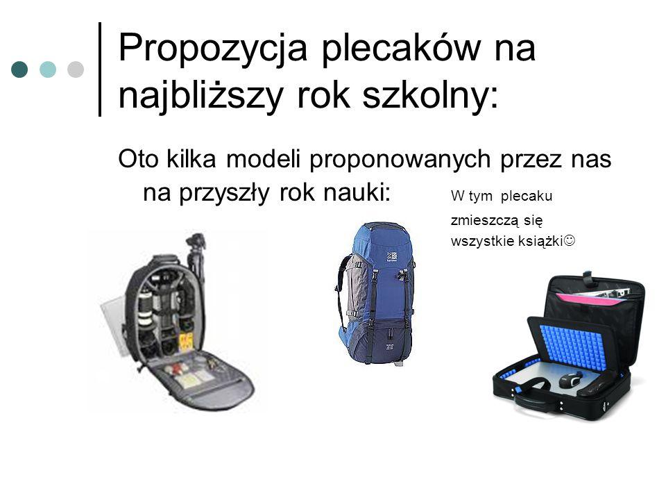 Propozycja plecaków na najbliższy rok szkolny: Oto kilka modeli proponowanych przez nas na przyszły rok nauki: W tym plecaku zmieszczą się wszystkie k