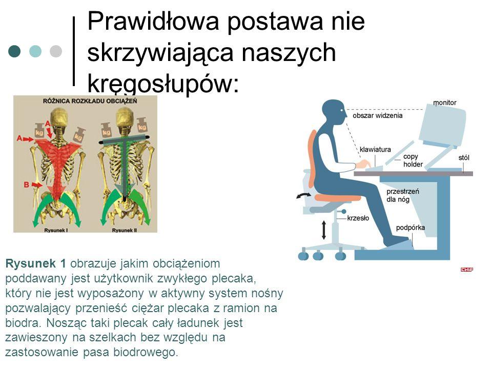Prawidłowa postawa nie skrzywiająca naszych kręgosłupów: Rysunek 1 obrazuje jakim obciążeniom poddawany jest użytkownik zwykłego plecaka, który nie je